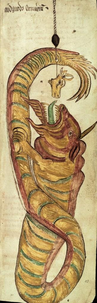 Midgardschlange aus einem isländischen Manuskript aus dem 17. Jahrhundert